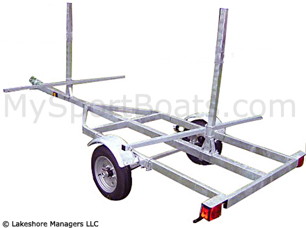 Dolphin 4 Kayak Trailer / 2 Canoe Trailer (shown with welded tongue)